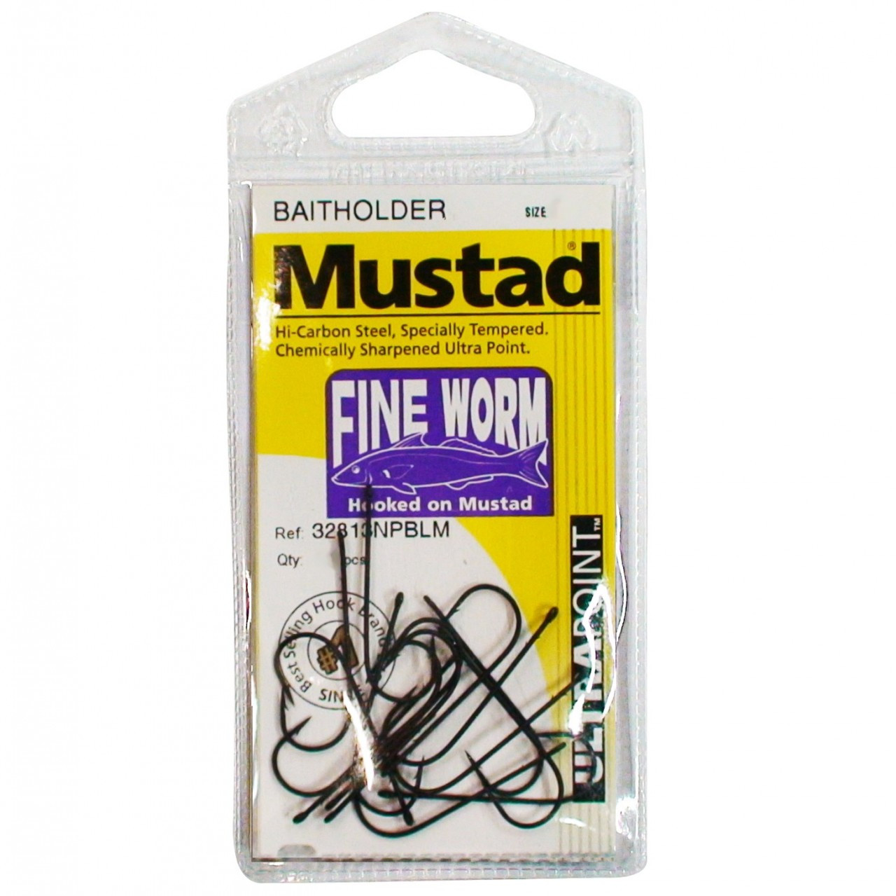 Image of Mustad Fine Worm Fishing Hooks Single Packet