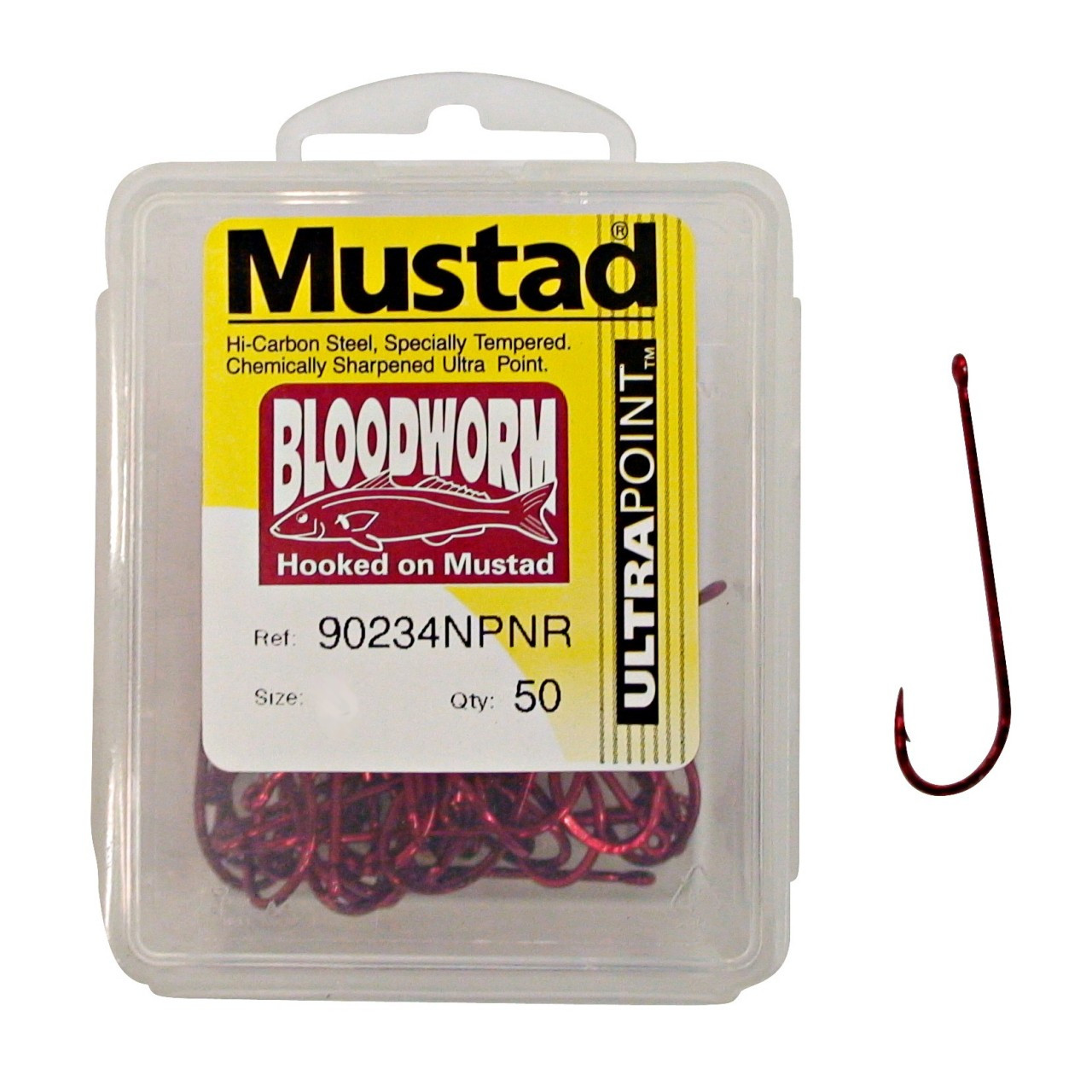 Image of Mustad Bloodworm Long Shank Fishing Hooks (50 Hooks)